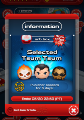 Selected Tsum Tsum draw rates up in the Marvel Tsum Tsum App!